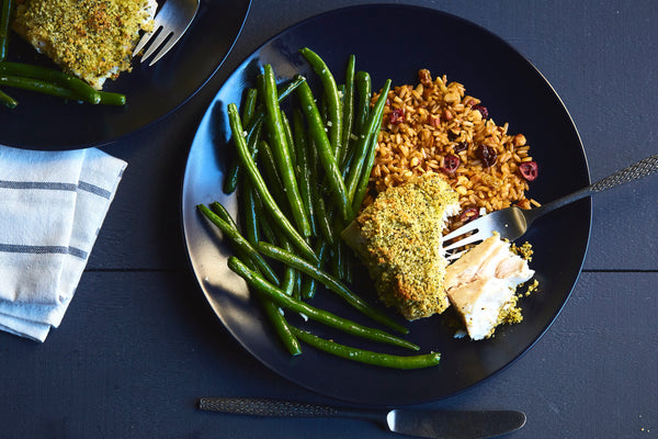 Baked Fish with Lemon Aioli-Panko Coating