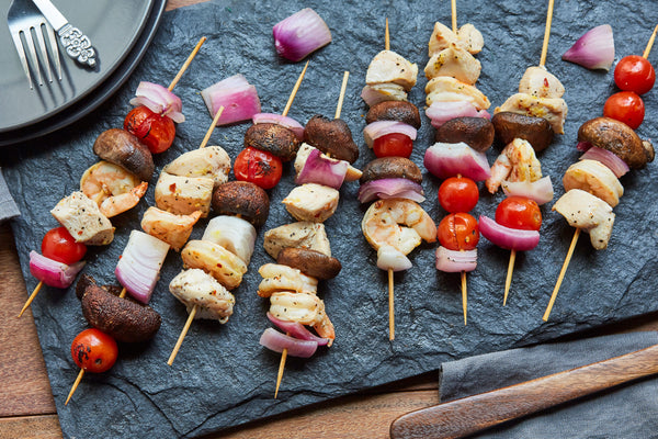 Lemon Chicken and Shrimp Kabobs