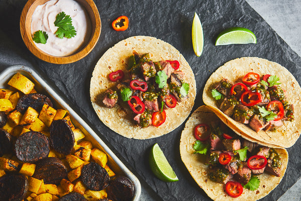 Grilled Chimichurri Flank Steak Tacos