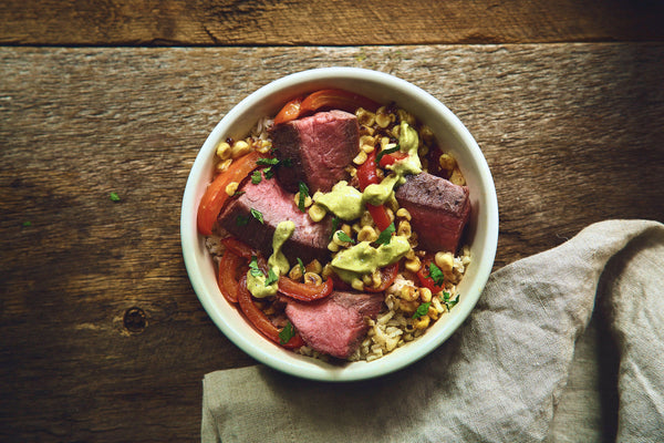 Flank Steak and Pepper Rice Bowl