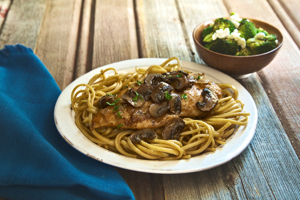 Chicken marsala with linguine and roasted broccoli forumfinder Images