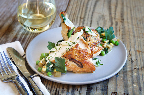 Flattened Chicken with Corn Succotash