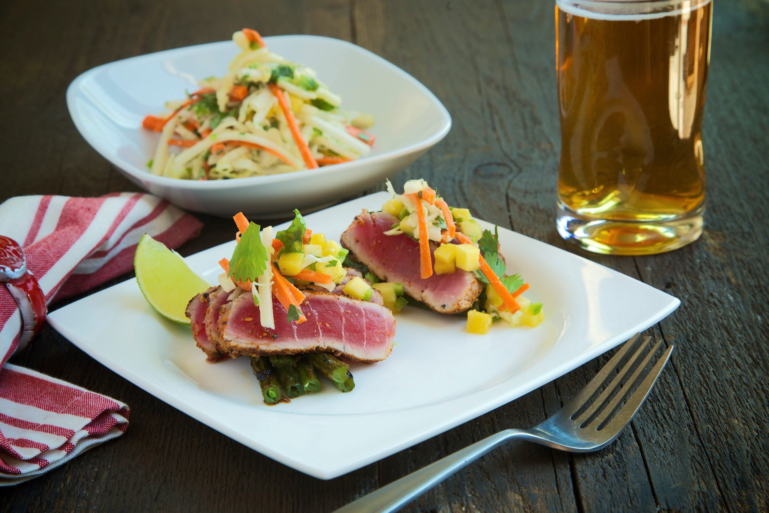Seared Ahi Tuna with Miso Tahini Slaw