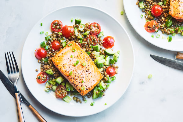 Seared Salmon with Lentil Tabouleh