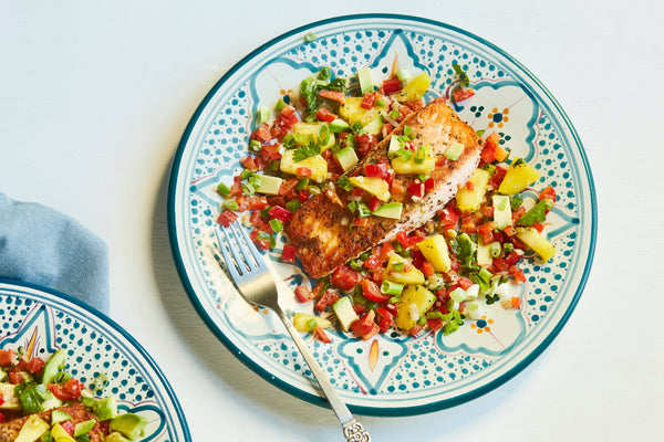 Seared Salmon with Tropical Salad