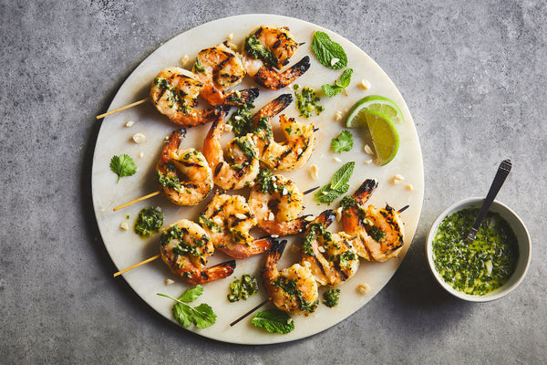 Grilled Shrimp with Vietnamese Peanut Pesto