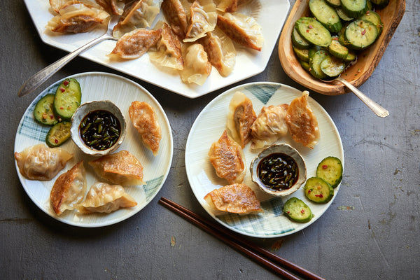 Fast Pot-Stickers with Cucumber Salad