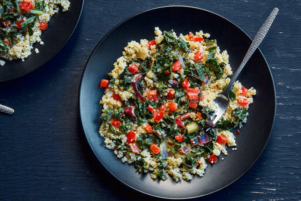 Swiss Chard with Toasted Quinoa & Tomato