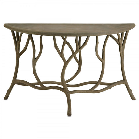 Currey and Company Hidcote Demi Lune Console Table