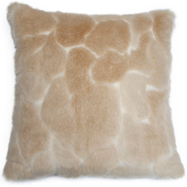Square Feathers Malibu Giraffe Fur Decorative Pillow