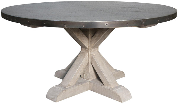 NOIR Zinc Top Round Table with Wooden X Base, Vintage