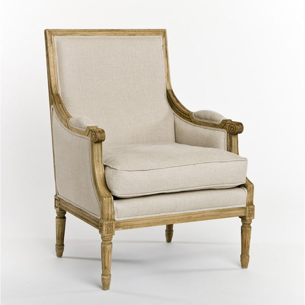 Zentique Louis Club Chair in Natural Linen