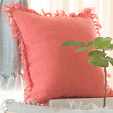 Pine Cone Hill Laundered Linen Coral Square Decorative Pillow
