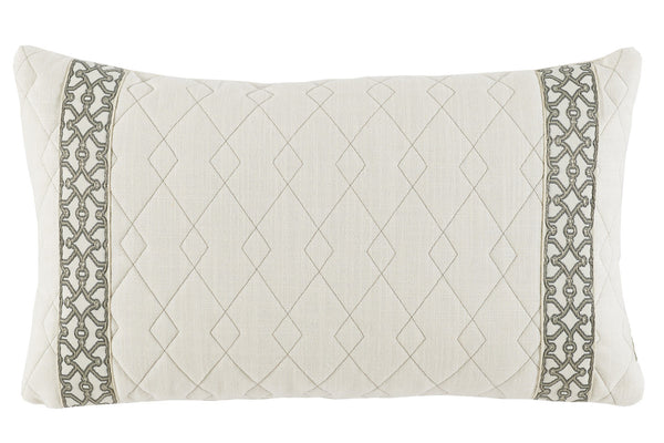 Lacefield Quilted Ivory Linen Lumbar