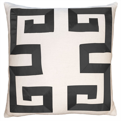 Square Feathers Empire Birch Black Ribbon Pillow