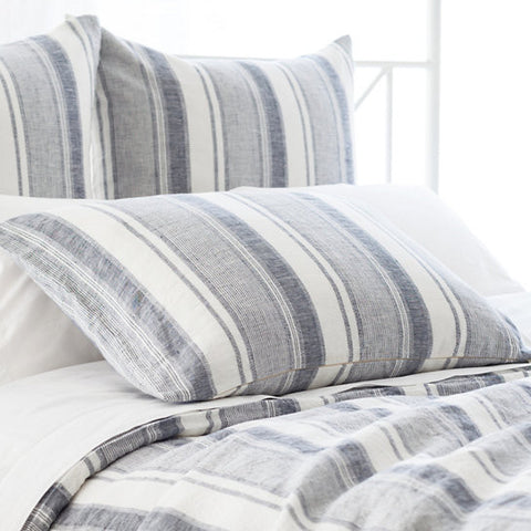 Pine Cone Hill Hampton Ticking Linen Indigo Sham
