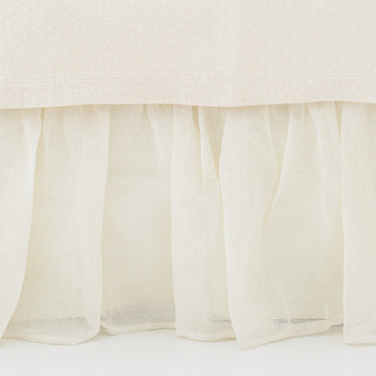 Pine Cone Hill Linen Mesh Bed Skirt in Ivory
