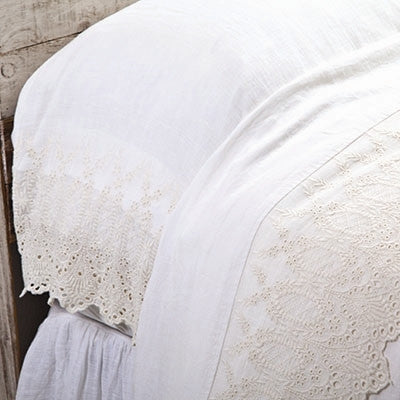 Pom Pom Annabelle Flat Sheet in Cream