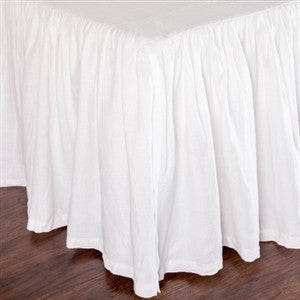 Pom Pom Gathered Linen Bed Skirt in White