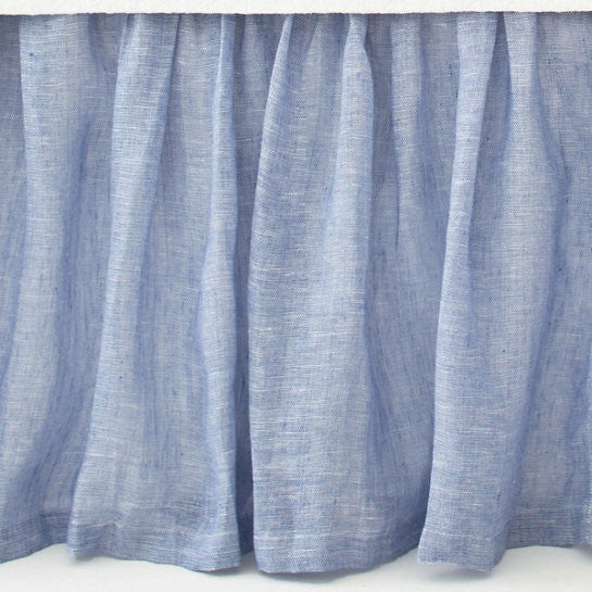 Pine Cone Hill Savannah Linen Chambray Bedskirt in French Blue