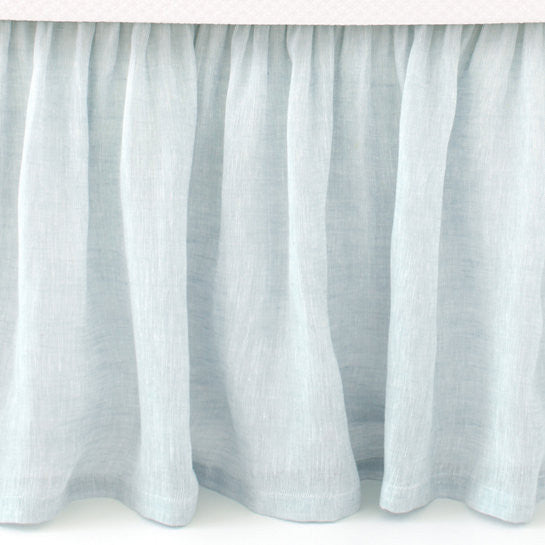 Pine Cone Hill Savannah Linen Chambray Bedskirt in Sky