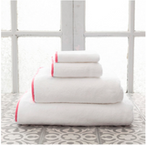 Pine Cone Hill Signature Banded Towel in White/Coral