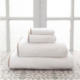 Pine Cone Hill Signature Banded Towel in White/Linen