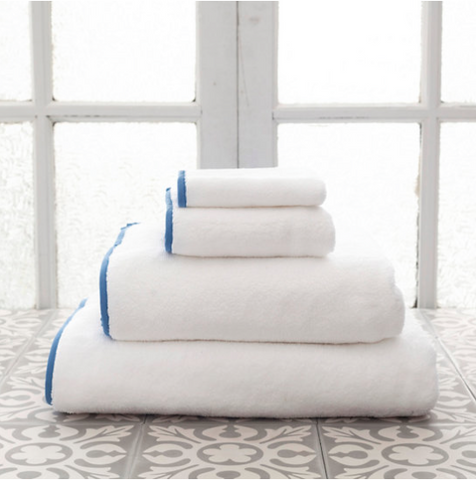 Pine Cone Hill Signature Banded Towel in White/French Blue