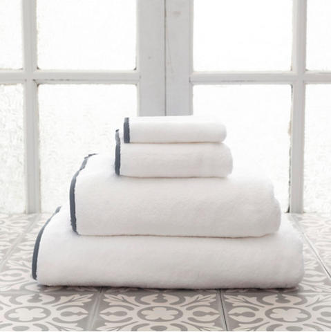Pine Cone Hill Signature Banded Towel in White/Shale