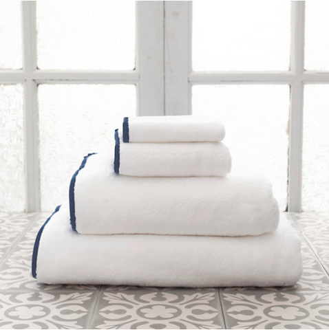 Pine Cone Hill Signature Banded Towel in White/Indigo
