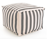 Fresh American Trimaran Stripe Sprout/Ivory Indoor/Outdoor Pouf