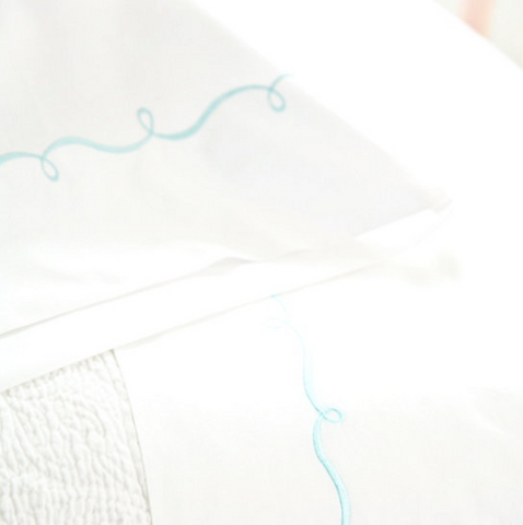 Pine Cone Hill Embroidered Hem Sheet Set in White/Blue