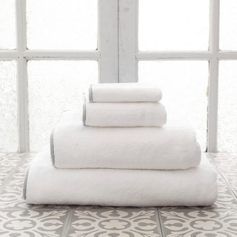Pine Cone Hill Signature Banded Towel in White/Pearl Grey