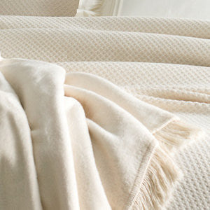 Pine Cone Hill Windsor Ivory Fringed Fleece Throw
