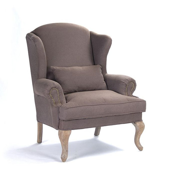 Zentique Zacharie Club Chair in Aubergine Linen and Limed Grey Oak
