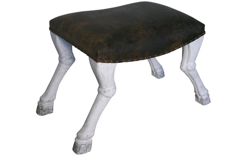 NOIR Claw Leg Saddle Stool With Leather in White