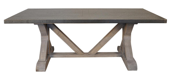 NOIR X Base Table With Hammered Zinc Top