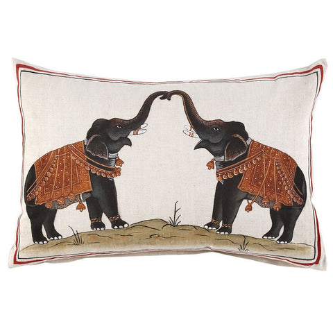 John Robshaw Two Elephants Decorative Pillow