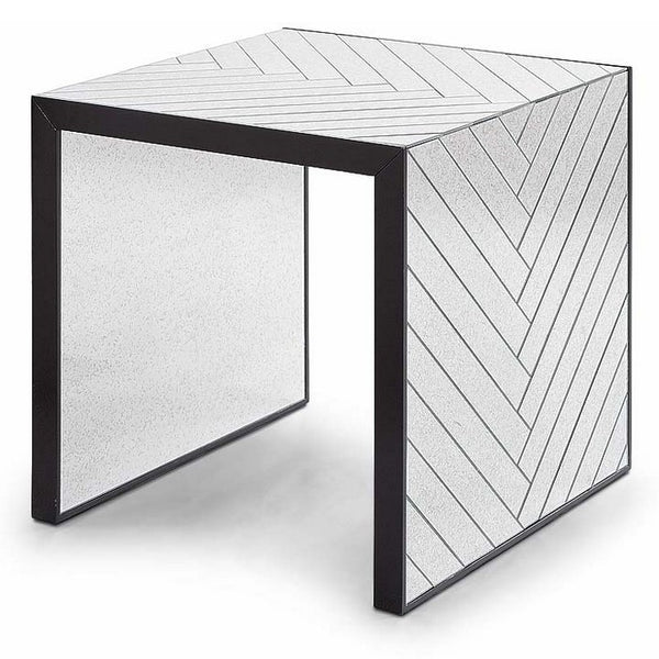 Regina Andrew Chevron End Table, Antique Mirror