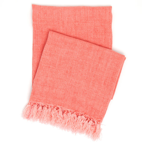 Pine Cone Hill Laundered Linen Coral Throw