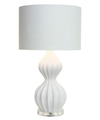 Couture White Ribbed Peanut Accent Lamp