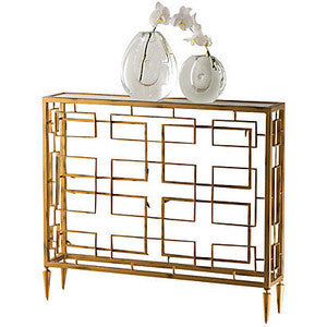Global Views Open Block Console Table in Gold