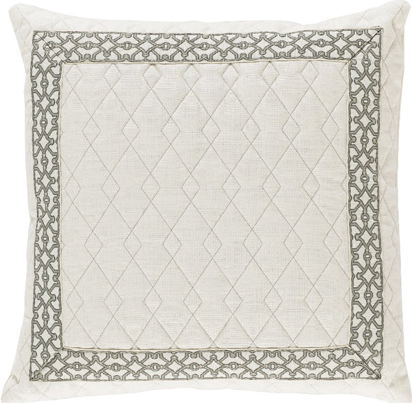 Lacefield Quilted Ivory Linen Pillow