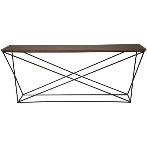 NOIR Metal X Base Console with Walnut Top
