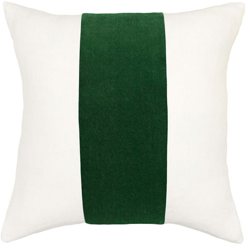 Square Feathers Ming Birch Emerald Velvet Band Pillow