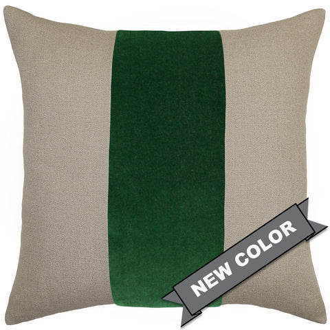 Square Feathers Ming Linen Emerald Velvet Band Pillow