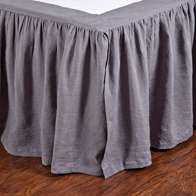 Pom Pom Gathered Linen Bed Skirt in Slate