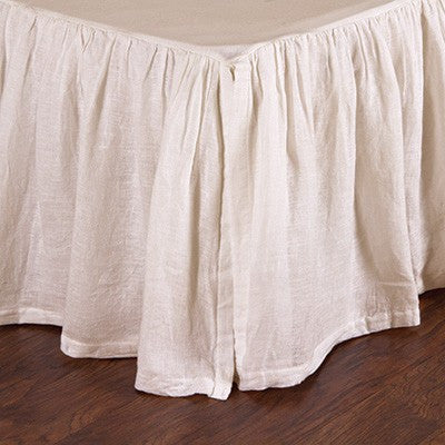 Pom Pom Gathered Linen Bed Skirt in Cream