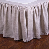 Pom Pom Gathered Linen Bed Skirt in Flax