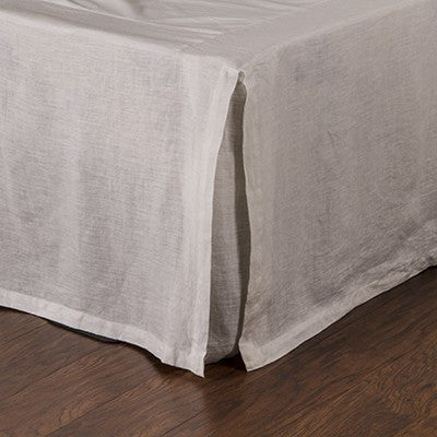 Pom Pom Pleated Linen Bedskirt in Flax